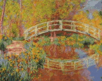 The Japanese Bridge Garden Fredspools Monet - Counted Cross Stitch Kit - DMC materials