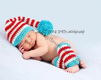 Baby Stocking Elf Long Tail Pompom Hat & Leg Warmers - Crochet Newborn Beanie Boy Girl Costume Christmas  Photo Prop Cap Outfit
