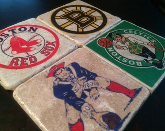 The Boston Collection, Group of 4 Kickass Coasters for the Beantown Sports Fan, Handmade with Tumbled Tile
