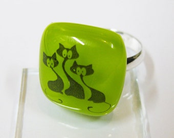 Friends of cat ring - Fused glass ring - Handmade