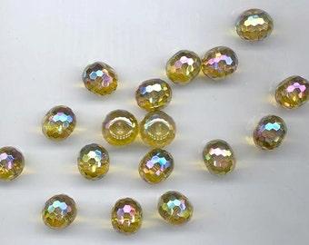 17 mystic disco ball-faceted citrine glass quartz rondelles - 14 x 11 mm