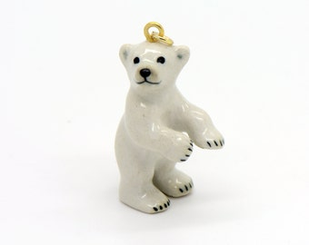 1 - Porcelain Polar Bear Cub Pendant Hand Painted Glaze Ceramic Animal Small Ceramic Bead Jewelry Supplies Little Critterz Porcelain (CA003)