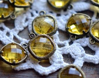 4 - Square Jewel Charms TOPAZ Drop Gem Jewels Square 12mm light Yellow (AX021)