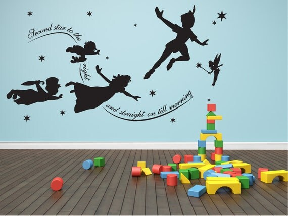 items similar to wall decal peter pan second star to the right mural stickers wall art. Black Bedroom Furniture Sets. Home Design Ideas