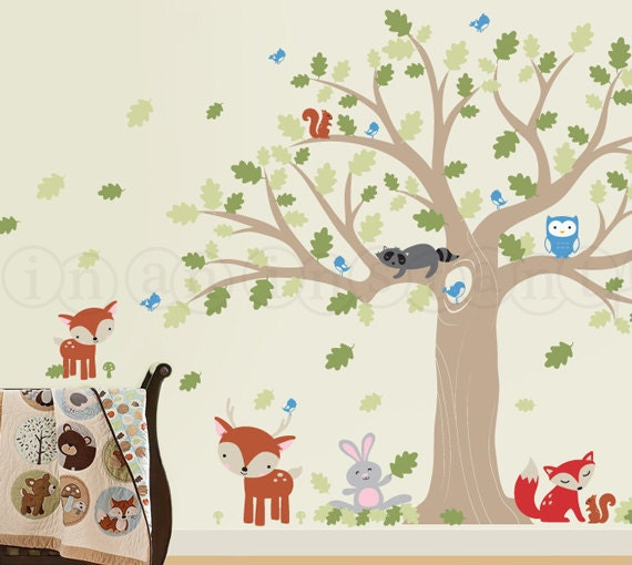 Forest Friends Large Oak Tree Wall Decal  For a Woodland Nursery with Owl, Raccoon