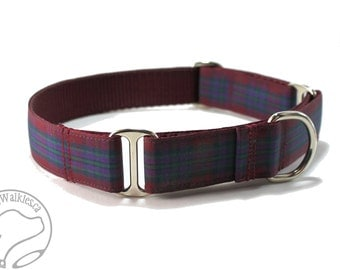 "Pride of Scotland Autumn Tartan Dog Collar - 1"" (25mm) wide - Martingale or Side Release - Choice of collar style and size - Burgundy Plaid"