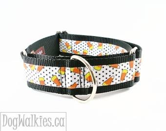 "Candy Corn Halloween 1.5"" (38mm) Wide Dog Collar - Martingale Dog Collar or Quick Release Dog Collar"