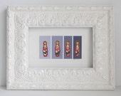 Babushka Matryoshka small wooden Russian nesting doll acrylic mini painting recycled