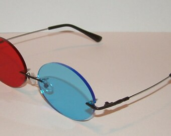 Large Red and Blue Oval cosplay costume glasses.