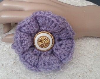 Sales - Crochet Flower Brooch - Crochet Flower Pin - Crochet Lilac Flower - Flower Pin - Ruffled Flower Pin - FREE UK delivery