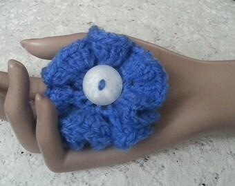 Crochet Flower Brooch - Crochet Flower Pin - Crochet  Blue Flower - Flower Pin - Ruffled Flower Pin - FREE UK delivery