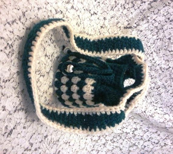 Small Bag Crochet : Small Crocheted Drawstring Bag - Shoulder Bag - Fully Lined - Cream ...