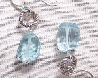 Blue Topaz AAAA Faceted Nugget and Sterling Silver Earrings