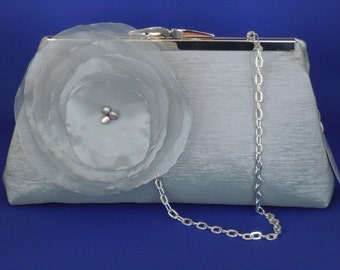 Shiny Silver Grey Taffeta Clutch for Weddings, Proms, Special Occasions