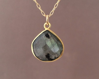 MEDIUM Gold Gray Labradorite Teardrop Necklace Long or Short