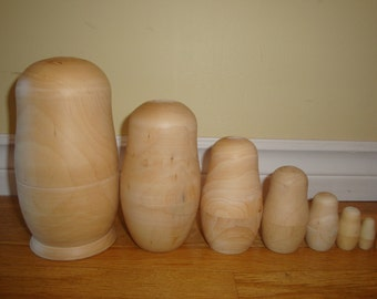 Set of Eight Blank Nesting Dolls