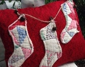 And the stockings were hung~ Prim Pillow Tuck~ Christmas decor~ vintage Quilt stockings~ holiday