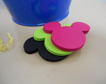 30 Mickey Mouse Heads - 2 inch - Cardstock Die Cuts for Scrapbooking, Cupcake Toppers, Tags