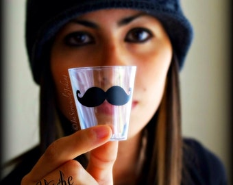 50 Mustache Shot Glasses- Mustache Shot galsses-Bachelorette party-The Handlebar-Mustache Party--party supplies-mustaches