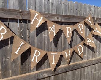 White Letter Original Size Happy Birthday Banner / Bunting