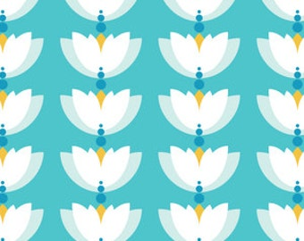 Lotus Drop Blue - Primrose - Lotus Pond - Made by Rae for Cloud 9 Organic Cotton Fabrics - 1/2 Yard