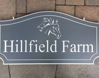HORSE FARM SIGN / Plaque Personalized Outdoor Hanging Sign/ Plaque with Farm Name