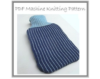 Hot water bottle cover fair isle stripes machine knitting PDF downloadable pattern NEW PATTERN