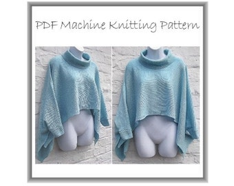 Poncho Pattern - Drapey Style - Machine Knitting - Batwing Style - Machine Knit - Simple Pattern - Quick And Easy - Easy to Knit - Plus Size