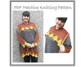 Lagenlook Sweater - Machine Knit Pattern - Machine Knitting - Baggy Sweater - Baggy Dress - Designer Knitting - Plus Size Knitting Pattern