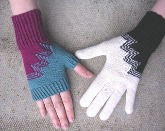 Deco Gloves and Fingerless Mitts (PDF knitting pattern)