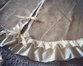 "48"" Burlap Double Ruffle Tree Skirt"