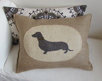 hand painted dachshund on burlap