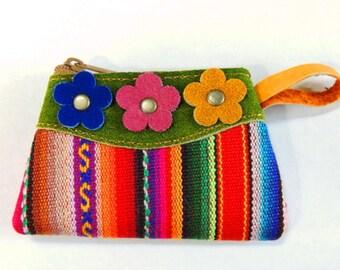 Indian Peruvian Handmade Multi-color Genuine Leather Women's Coin Bag/ Key Purse