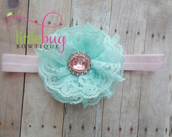 Aqua Blue Lace Flower with Pink Rhinestones on Light Pink Stretch Lace Headband Photo Prop for Newborns Babies Girls Toddlers Teens Weddings