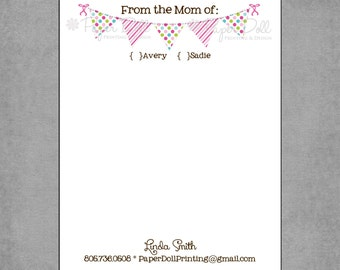 "Personalized Notepads - ""From the Mom of:""  Notepad"