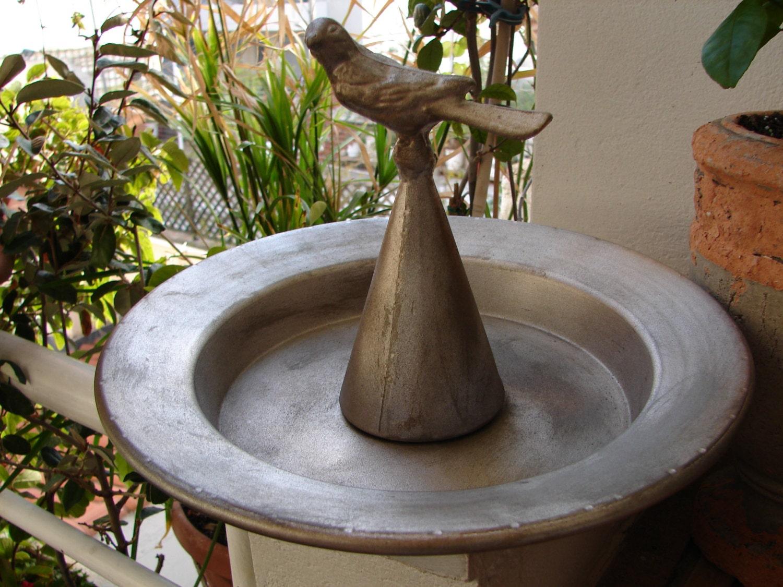 Vintage frenchtin metal bird bath or feeder country for Bird feed tin