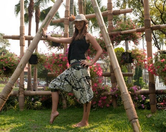 Thai Hill Tribe  / Capri Pants, Batik Cotton, Hmong Hill Tribe Style, Grey Print w Colored Belt details