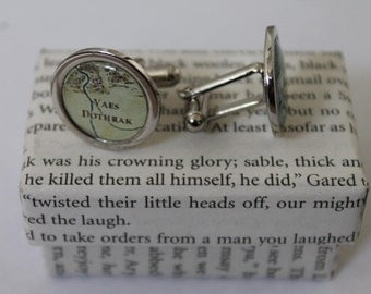 Game of Thrones//Nights Watch and Dothraki// Castle Black and Vaers Dothrak //Literature Cufflinks