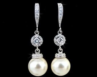 CREAM Pearl Earrings Bridesmaid Jewelry Ivory Pearls Earrings Wedding Jewelry Bridesmaid Gift Bridal Earrings Drop Pearl Earrings
