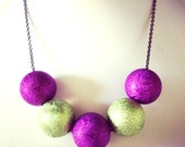 Purple Lime Green Necklace Metallic Beads Black Chain approx 16 inches by JulieDeeleyJewellery on Etsy Modern Jewellery