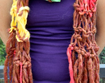 Bulky Hand Knit Scarf, Multicolor, in Brown, Blue, Yellow, and more, made of Super Soft Handspun Hand Dyed Yarn