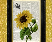 SUNFLOWER with SWALLOW Print, Upcycled Art, Reclaimed Book Page, Dictionary Page Art Print, Recycled Vintage Book Page Print