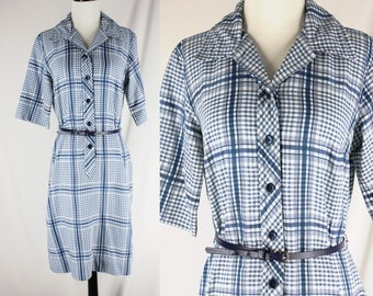 Vintage Country Miss Blue and White Gingham plaid Dress