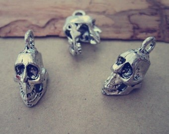 10pcs of  Antique silver  Skeleton head pendant charm 20mmx18mmx11mm