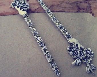 6pcs Antique silver flower pattern  Bookmark Hooks 29mmx133mm