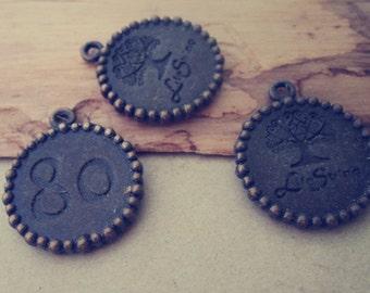 10pcs antique bronze life string Charms pendant  21mm
