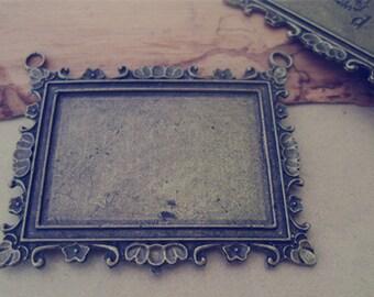 4pcs 33mmx46mm  Antique Bronze rectangular English letters Pendant Base tray
