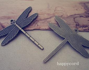 7pcs  Antique Bronze dragonfly pendant Charms 42mmx47mm