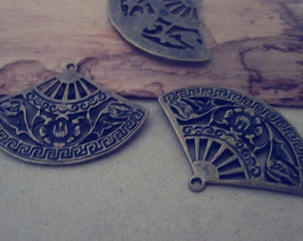 12pcs Antique Bronze  fan pendant charm 25mmx36mm