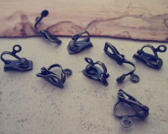 50pcs 9mm x12mm Antique Bronze Ear clip findings